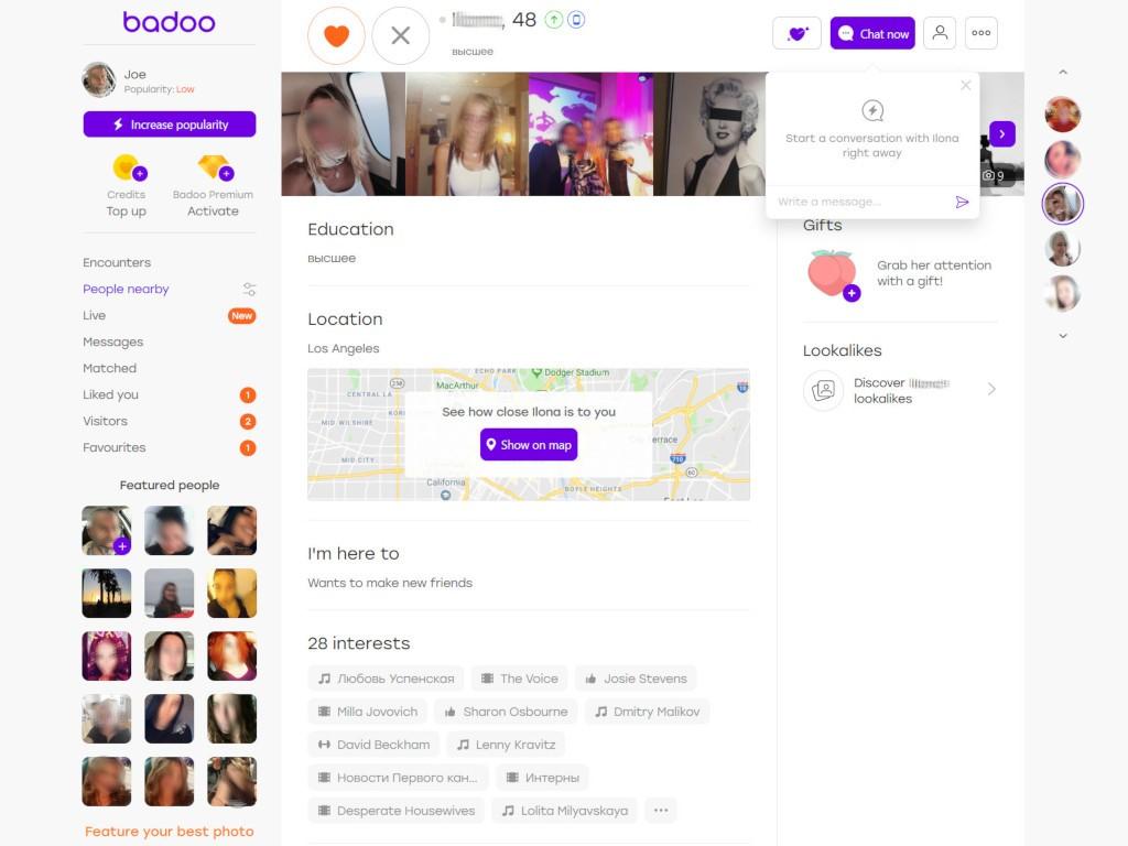 badoo sample profile